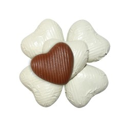 50 Chocolate Hearts in Ivory Foil - 250 gr
