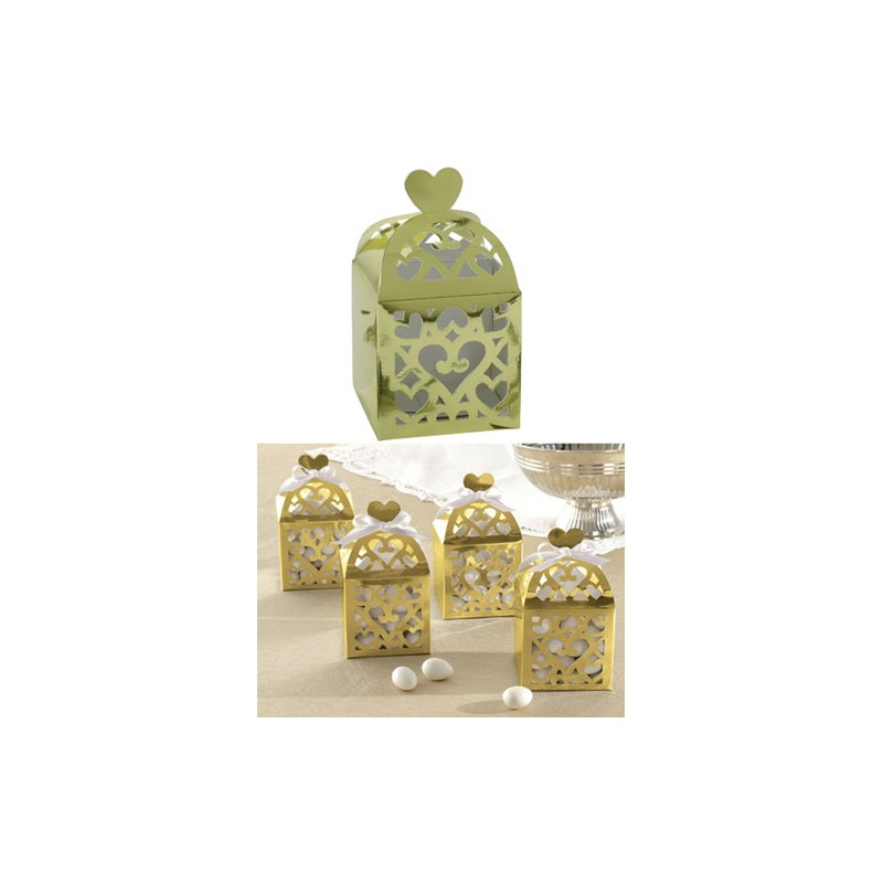 favor box with heart gold