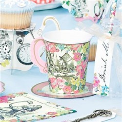 12 Paper Party Cups with Saucers - Alice