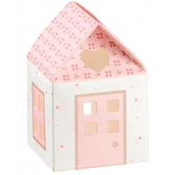 Favor Box with Heart and Flowers - Pink