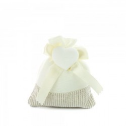 White Favour Bags with heart