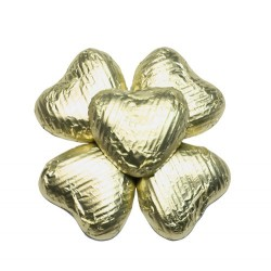 50 Chocolate Hearts in Gold Foil - 250 gr