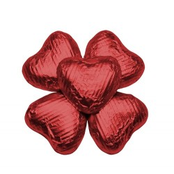 100 Chocolate Hearts in Red Foil - 500 gr