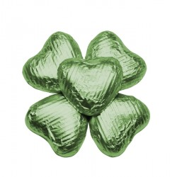 100 Chocolate Hearts in Green  Foil - 500 gr