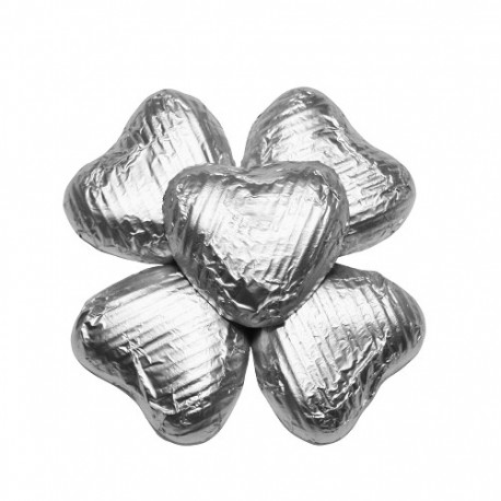 50 Chocolate Hearts in Silver Foil - 250 gr