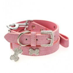 Pink Leather Dog Collar & Lead