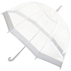 Clear Dome Umbrella - White Stripe