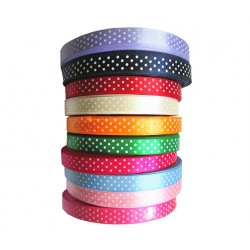 Polka Double Satin Ribbon 25 mm - 20 mt