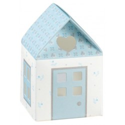 Favor Box with Heart and Flowers - Light Blue