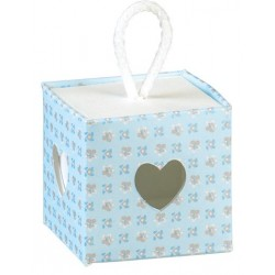 Light Blue Favor Box with flowers and heart