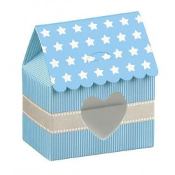 Light Blue House Favor Boxes with stars