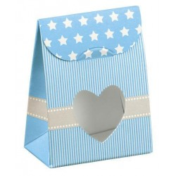 Light Blue Favor Boxes with stars and heart
