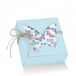 Light Blue Favor Boxes with Butterfly