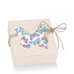 Cream Favor Boxes with Butterfly