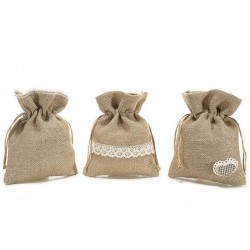 Burlap Favour Bags - Mix of 3