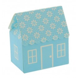 House Favor Boxes with Pois Light Blue