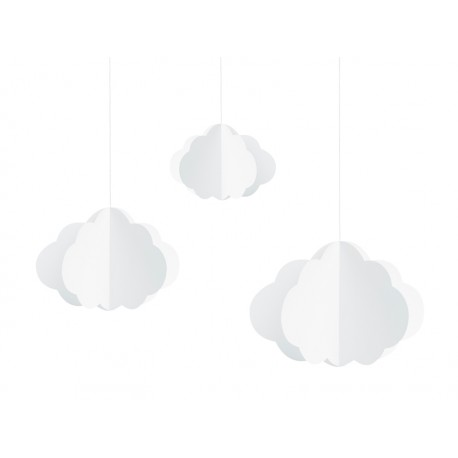 Hanging decoration white Clouds - 3 pc
