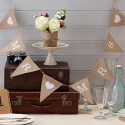 Mr & Mrs Hessian Burlap Garland