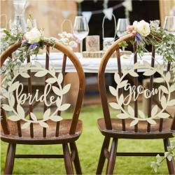 Bride & Groom Wooden Chair Signs - Set of 2