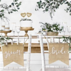Bride & Groom hessian chair signs - Set of 2
