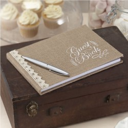 Hessian Burlap and Lace Guest Book