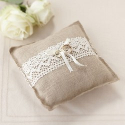 Hessian and Lace Ring Pillow