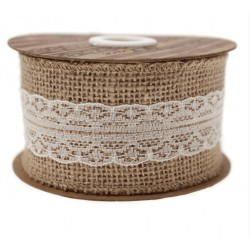 Hessian Lace Burlap Ribbon - 5 cm