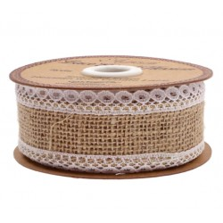 Hessian Lace Burlap Ribbon - 36 mm