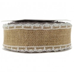 Lace Edge Hessian Ribbon - 38 mm