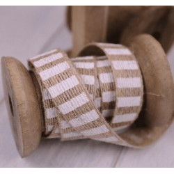 Hessian Burlap Ribbon White Stripes 15 mm