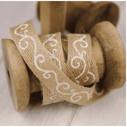 Hessian Burlap Ribbon Filigree 15 mm