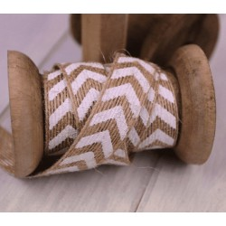 Hessian Burlap Ribbon White Arrows 15 mm