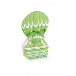 Favor Box - green hot-air balloon