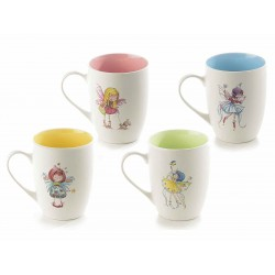 Ceramic Tea Cups Fairy - Set x 4