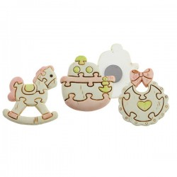 Soft Pink Baby Puzzle Magnets - Set of 3