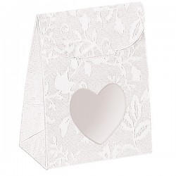 White Wedding Boxes with Heart