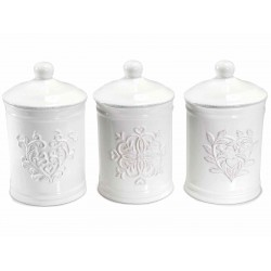 Mix of 3 White Ceramic Jars with Lid