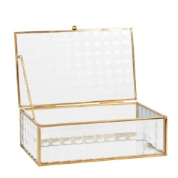 Jewelery box in glass and golden metal