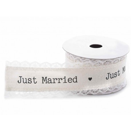 Lace Ribbon Just Married - 38mmx10mt
