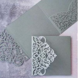 Grey Laser Cut Pocket Fold Set - Milano