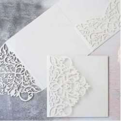 White Laser Cut Pocket Fold Set - Milano