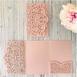 Blush Laser Cut Pocket Fold Set - Firenze