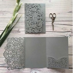 Grey Laser Cut Pocket Fold Set - Firenze