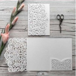 White Laser Cut Pocket Fold Set - Firenze