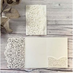 Ivory Laser Cut Pocket Fold Set - Firenze