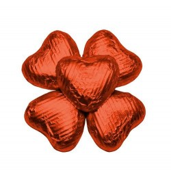 100 Chocolate Hearts in Orange Foil - 500 gr