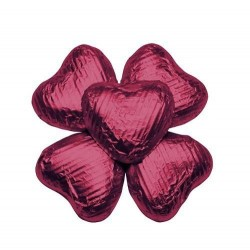 100 Chocolate Hearts in Burgundy Foil - 500 gr