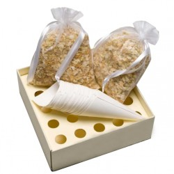 Biodegradable dried Petals Ivory & Gold - Set with tray and cones