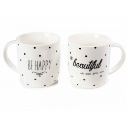 Set 2 Tea Cups with Be Happy & Beautiful design
