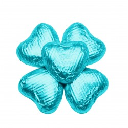 100 Chocolate Hearts in Turquoise Foil - 500 gr